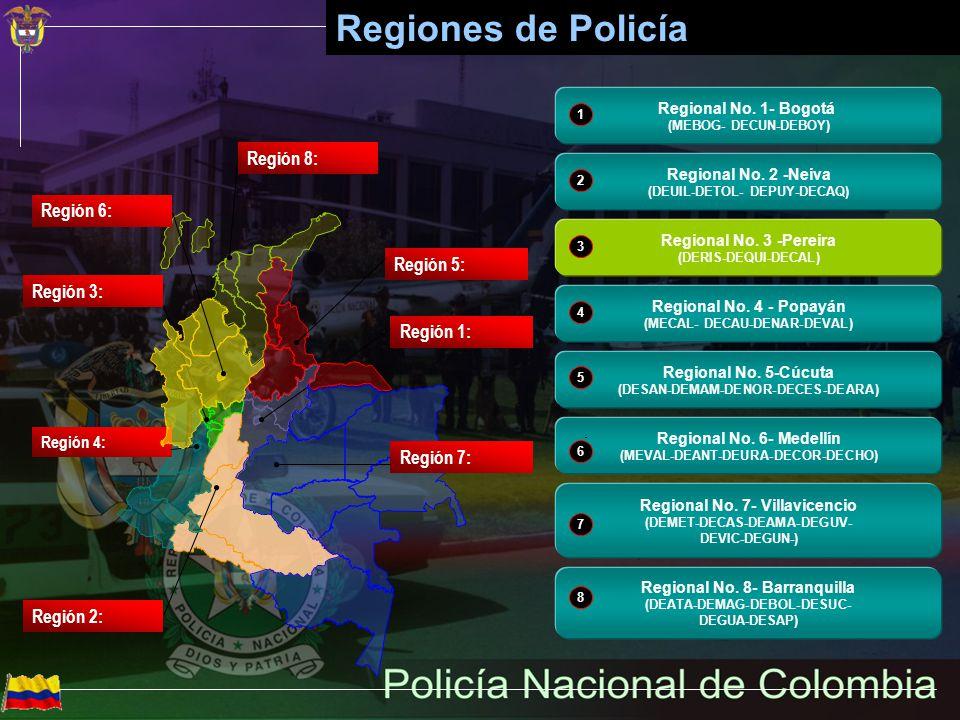 Regiones de Policía Región 8: Región 6: Región 5: Región 3: Región 1: