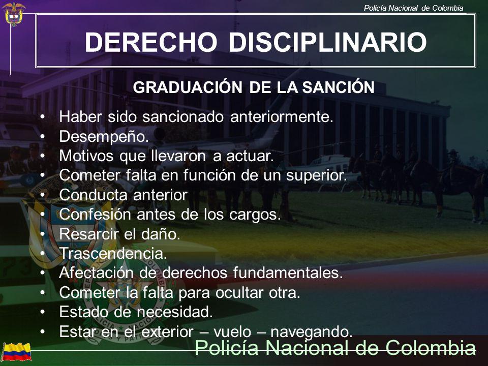 DERECHO DISCIPLINARIO GRADUACIÓN DE LA SANCIÓN