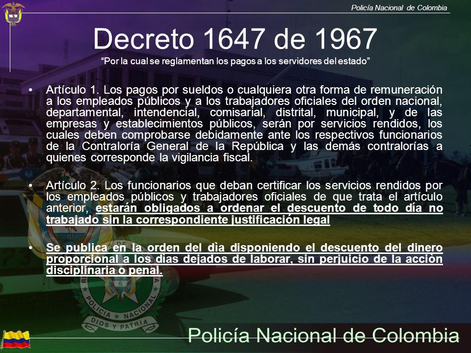 Decreto 1647 de 1967 Por la cual se reglamentan los pagos a los servidores del estado