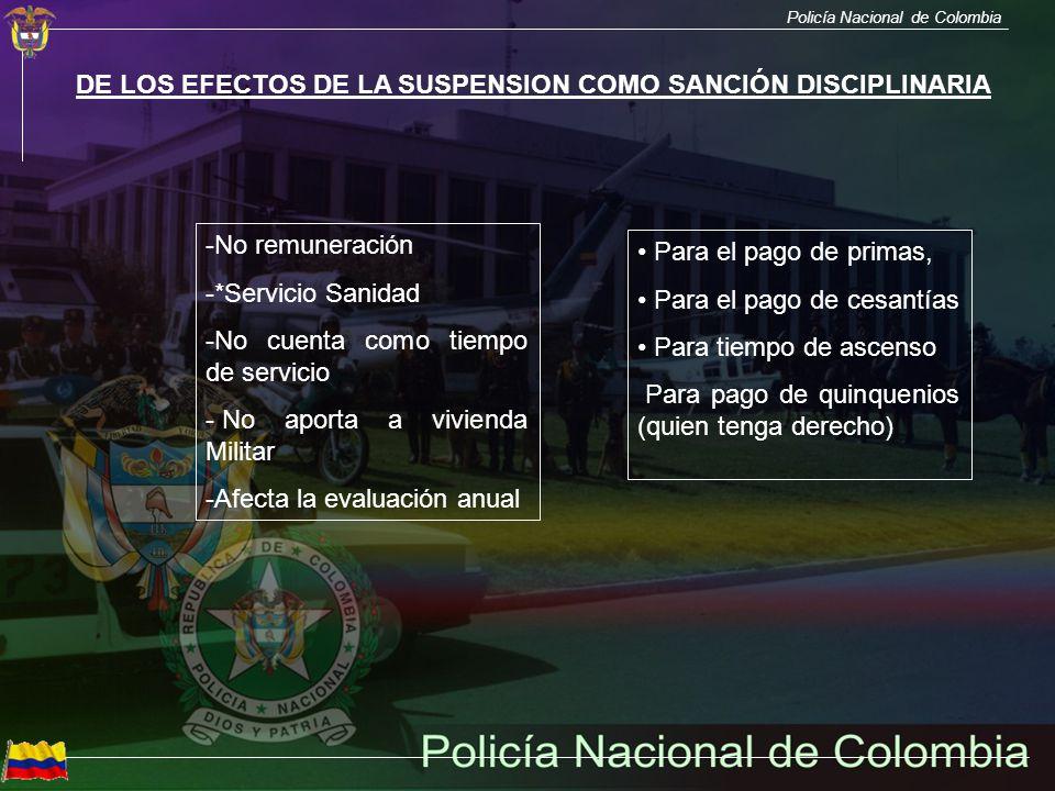 DE LOS EFECTOS DE LA SUSPENSION COMO SANCIÓN DISCIPLINARIA