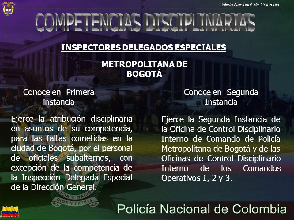 INSPECTORES DELEGADOS ESPECIALES METROPOLITANA DE BOGOTÁ