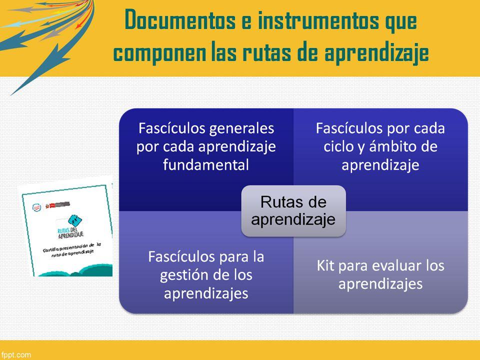 Documentos e instrumentos que componen las rutas de aprendizaje