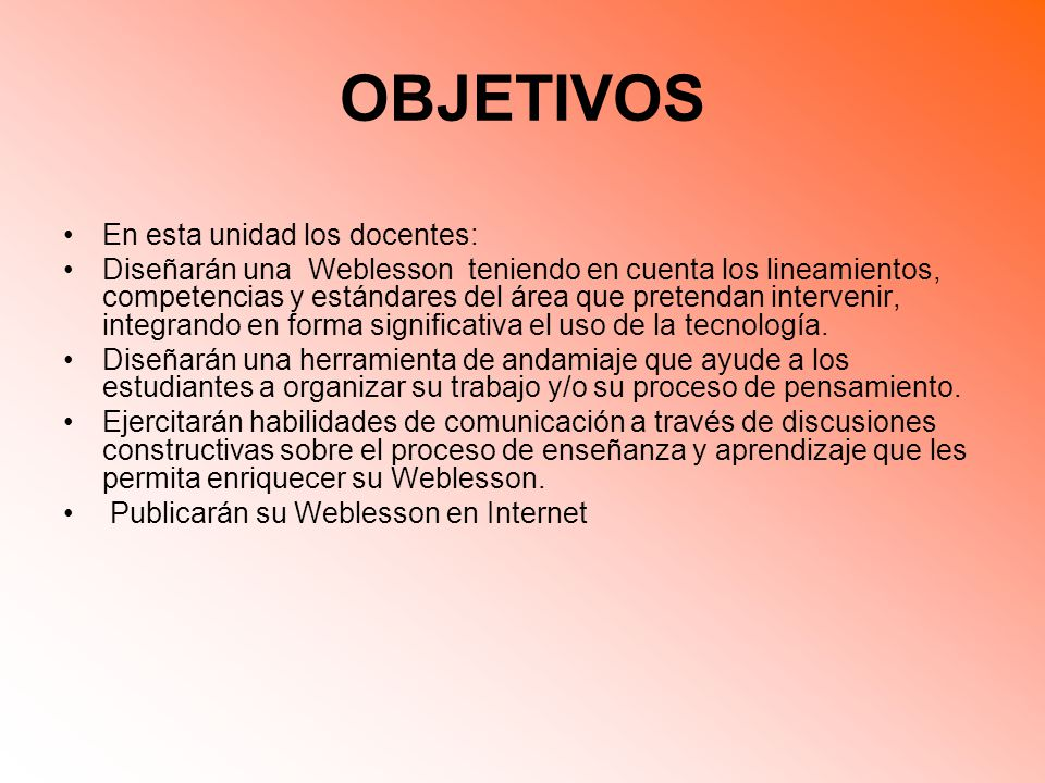 OBJETIVOS En esta unidad los docentes: