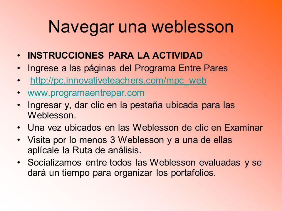 Navegar una weblesson INSTRUCCIONES PARA LA ACTIVIDAD