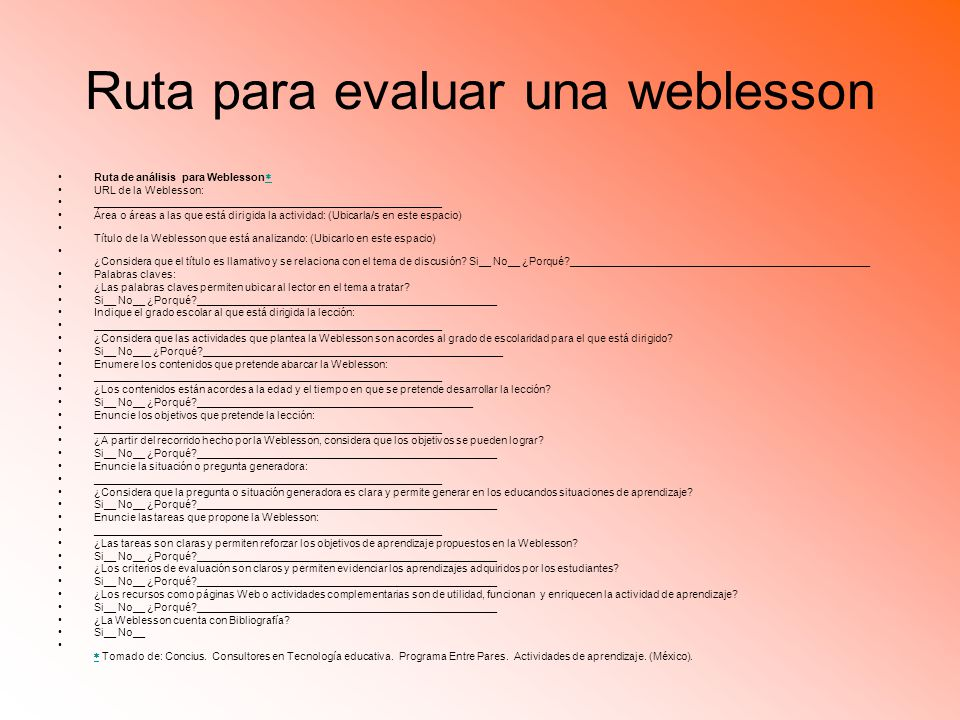 Ruta para evaluar una weblesson