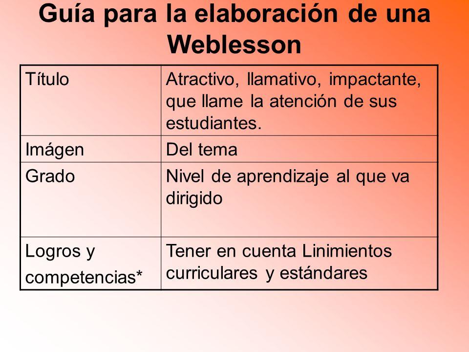 Guía para la elaboración de una Weblesson