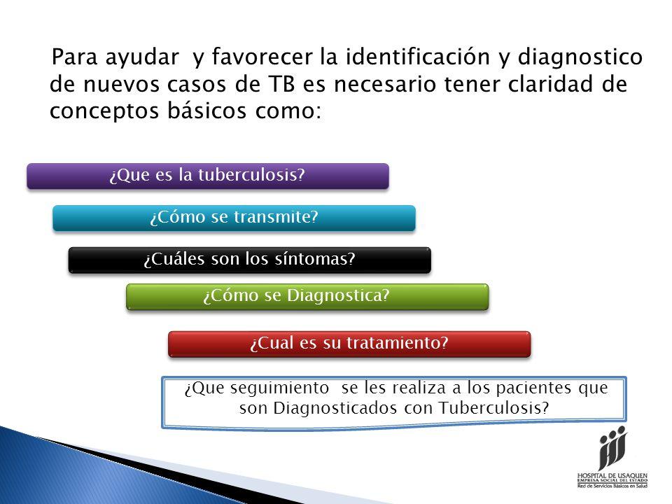 Para ayudar y favorecer la identificación y diagnostico de nuevos casos de TB es necesario tener claridad de conceptos básicos como: