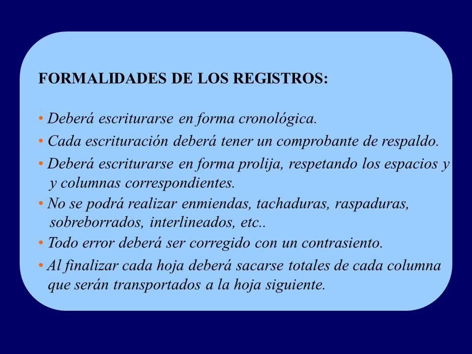 FORMALIDADES DE LOS REGISTROS: