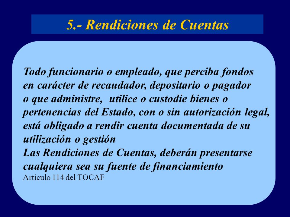 5.- Rendiciones de Cuentas