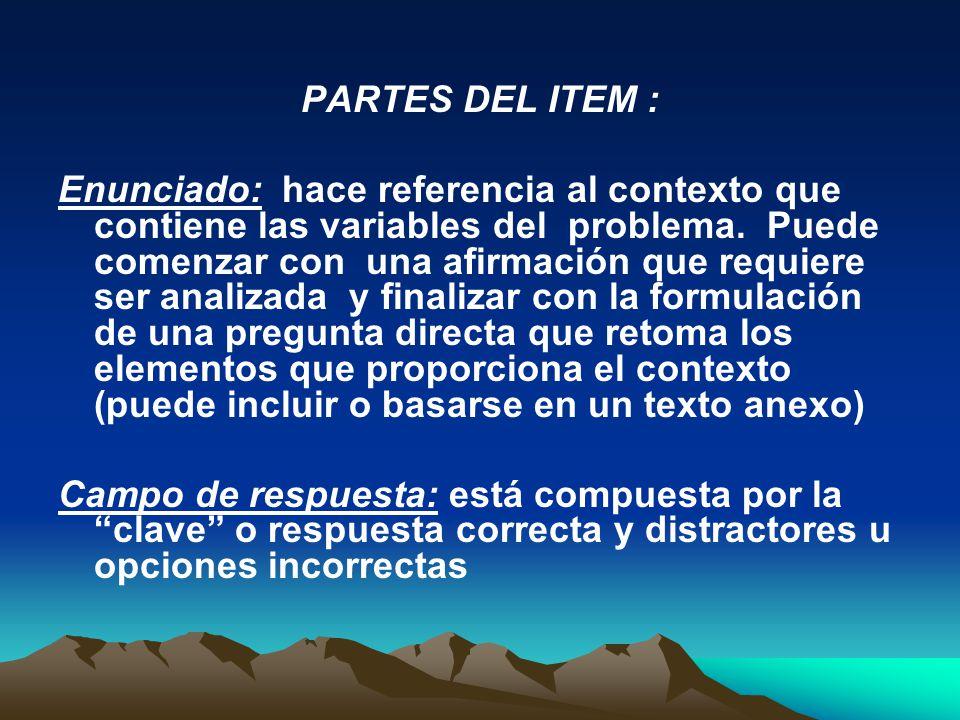 PARTES DEL ITEM :