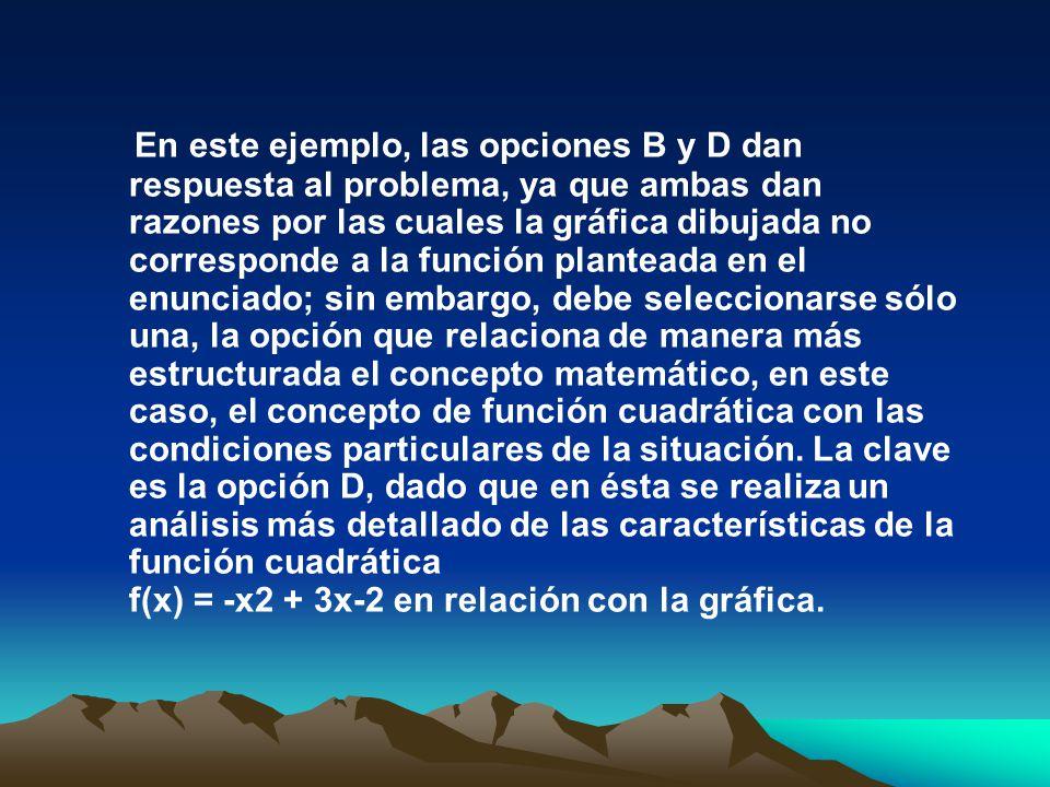 En este ejemplo, las opciones B y D dan respuesta al problema, ya que ambas dan razones por las cuales la gráfica dibujada no corresponde a la función planteada en el enunciado; sin embargo, debe seleccionarse sólo una, la opción que relaciona de manera más estructurada el concepto matemático, en este caso, el concepto de función cuadrática con las condiciones particulares de la situación.