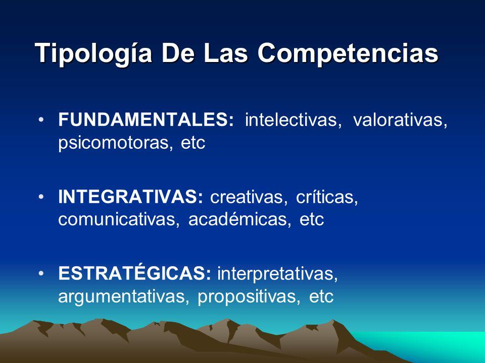 Tipología De Las Competencias