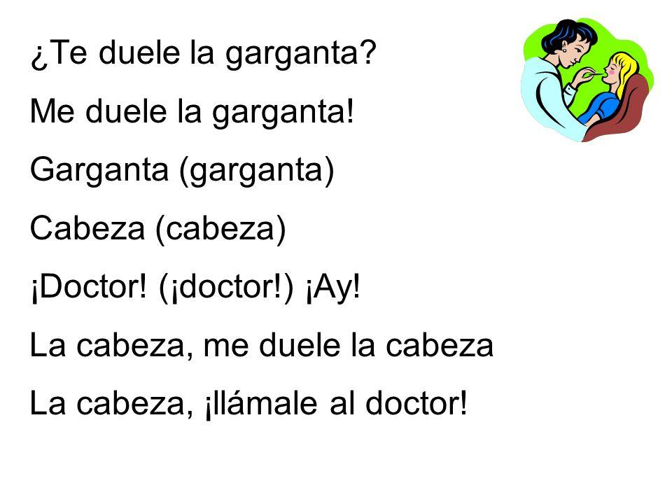 ¿Te duele la garganta Me duele la garganta! Garganta (garganta) Cabeza (cabeza) ¡Doctor! (¡doctor!) ¡Ay!
