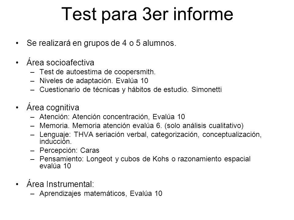 Test para 3er informe Se realizará en grupos de 4 o 5 alumnos.