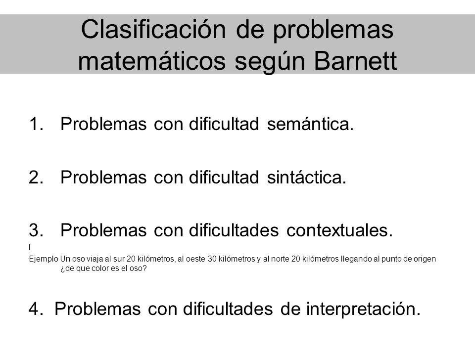 Clasificación de problemas matemáticos según Barnett