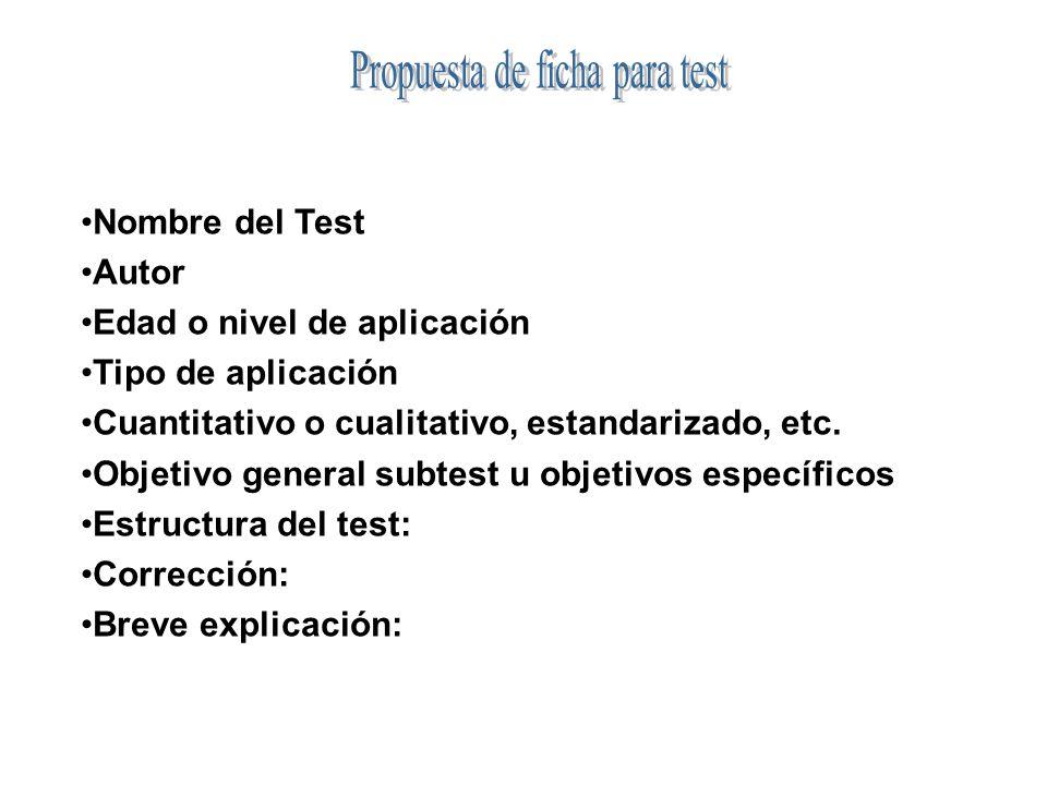 Propuesta de ficha para test
