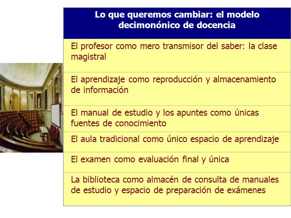 Lo que queremos cambiar: el modelo decimonónico de docencia