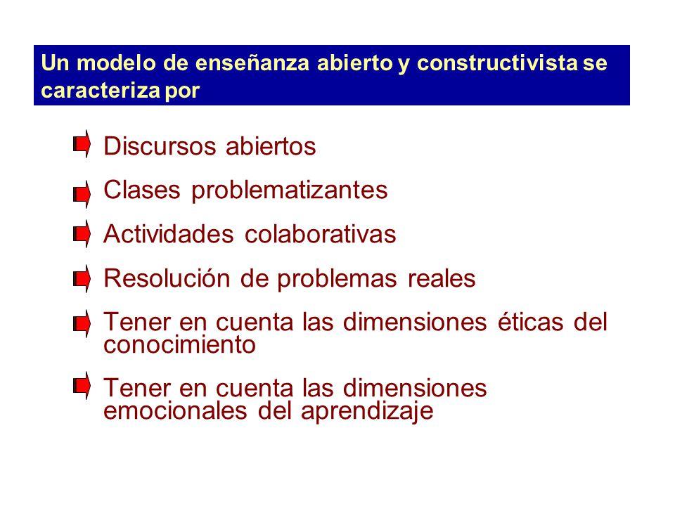 Un modelo de enseñanza abierto y constructivista se caracteriza por