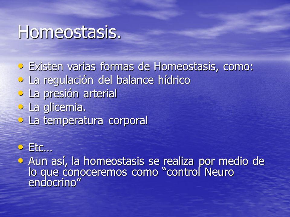 Homeostasis. Existen varias formas de Homeostasis, como:
