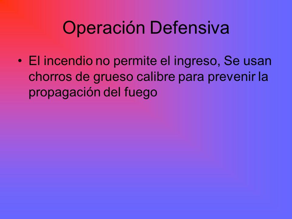 Operación Defensiva El incendio no permite el ingreso, Se usan chorros de grueso calibre para prevenir la propagación del fuego.