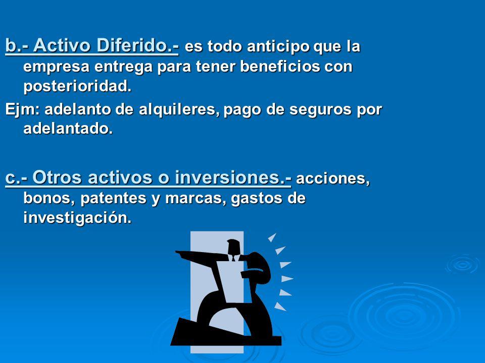 b.- Activo Diferido.- es todo anticipo que la empresa entrega para tener beneficios con posterioridad.