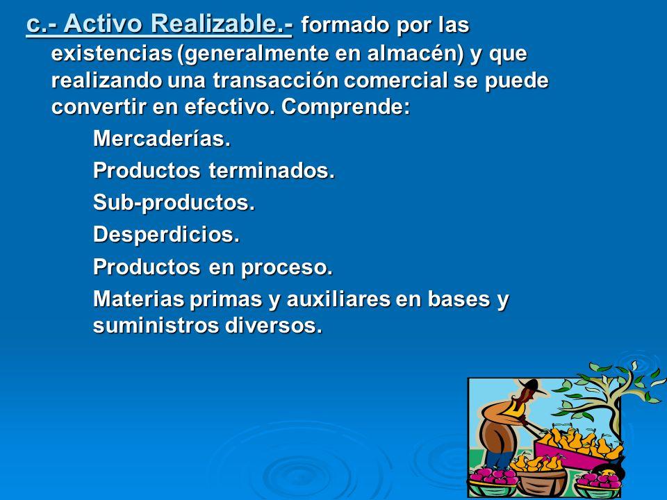 c.- Activo Realizable.- formado por las existencias (generalmente en almacén) y que realizando una transacción comercial se puede convertir en efectivo. Comprende: