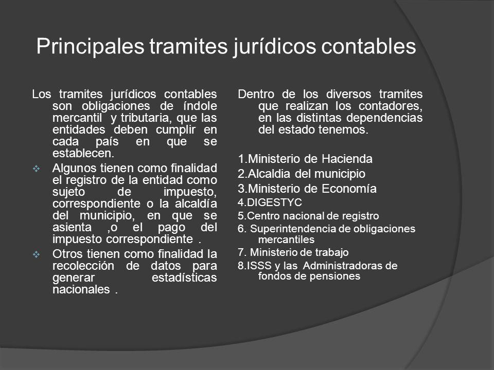 Principales tramites jurídicos contables