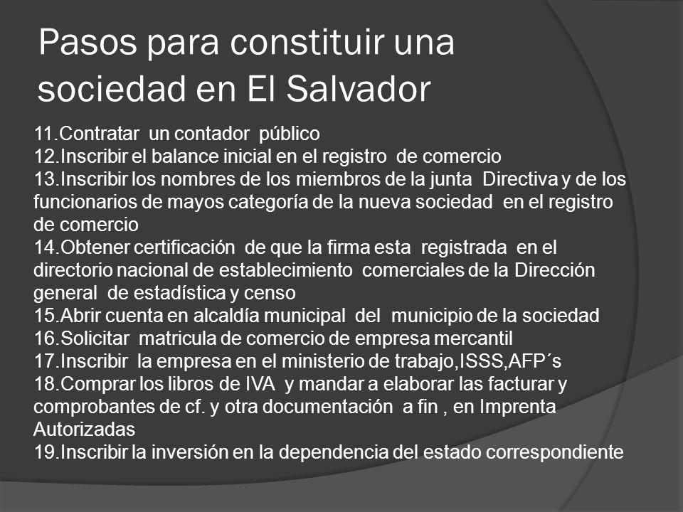 Pasos para constituir una sociedad en El Salvador