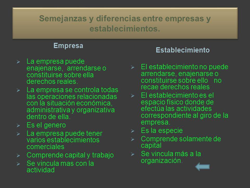 Semejanzas y diferencias entre empresas y establecimientos.