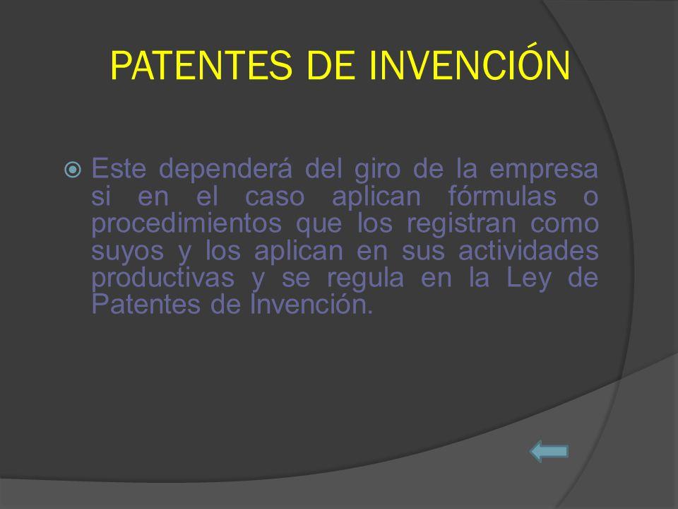 PATENTES DE INVENCIÓN