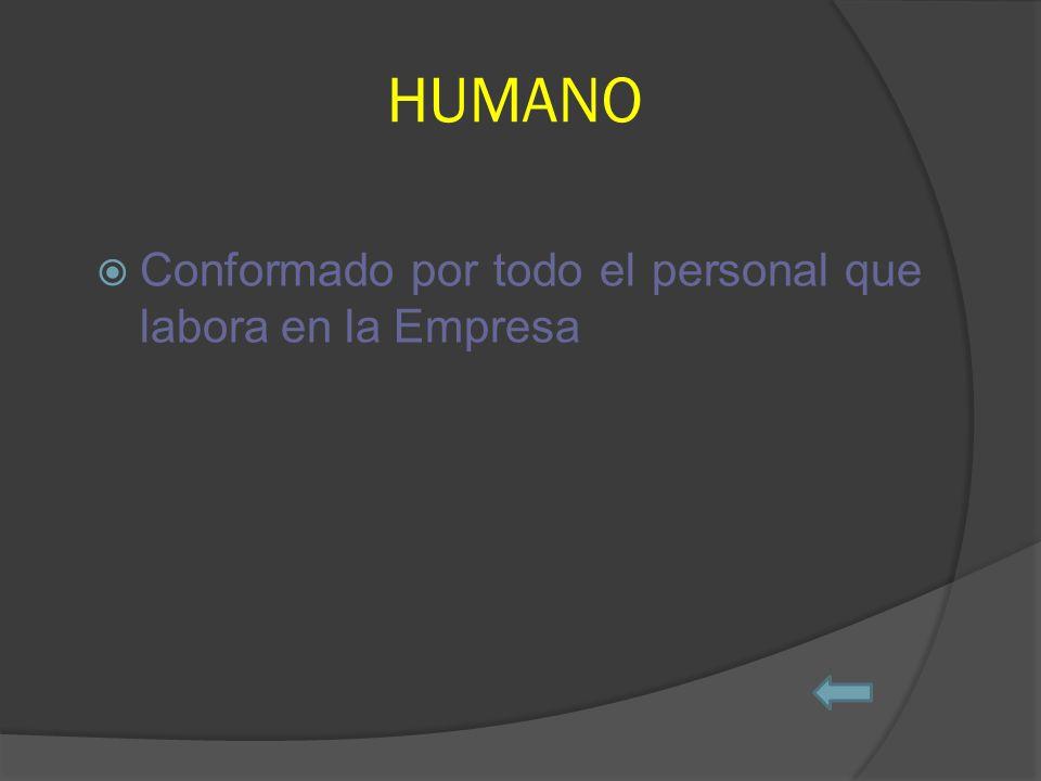 HUMANO Conformado por todo el personal que labora en la Empresa