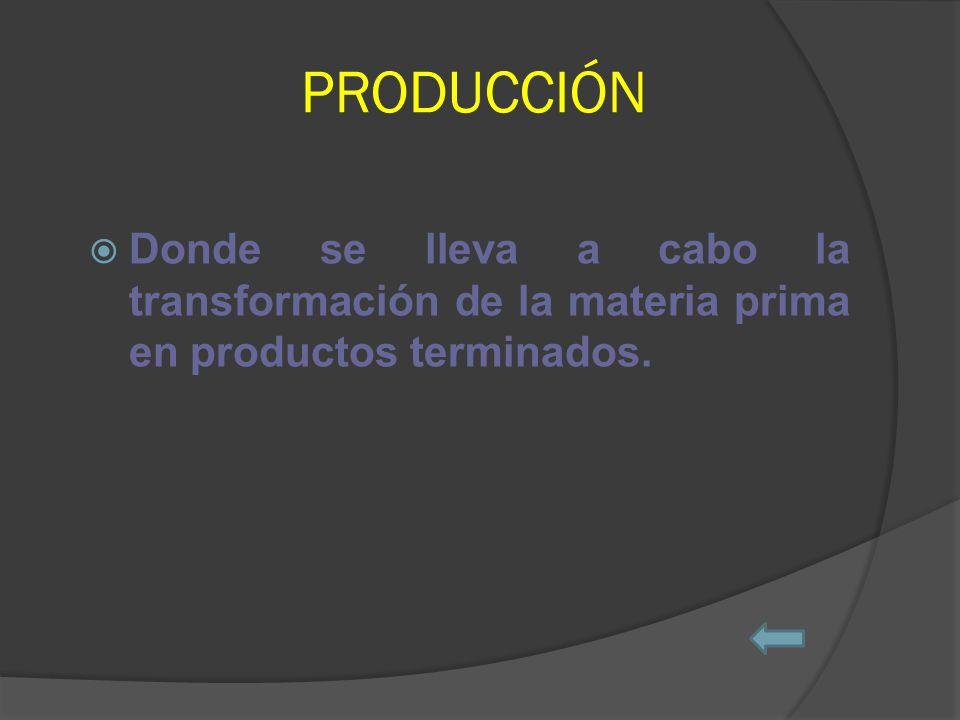 PRODUCCIÓN Donde se lleva a cabo la transformación de la materia prima en productos terminados.