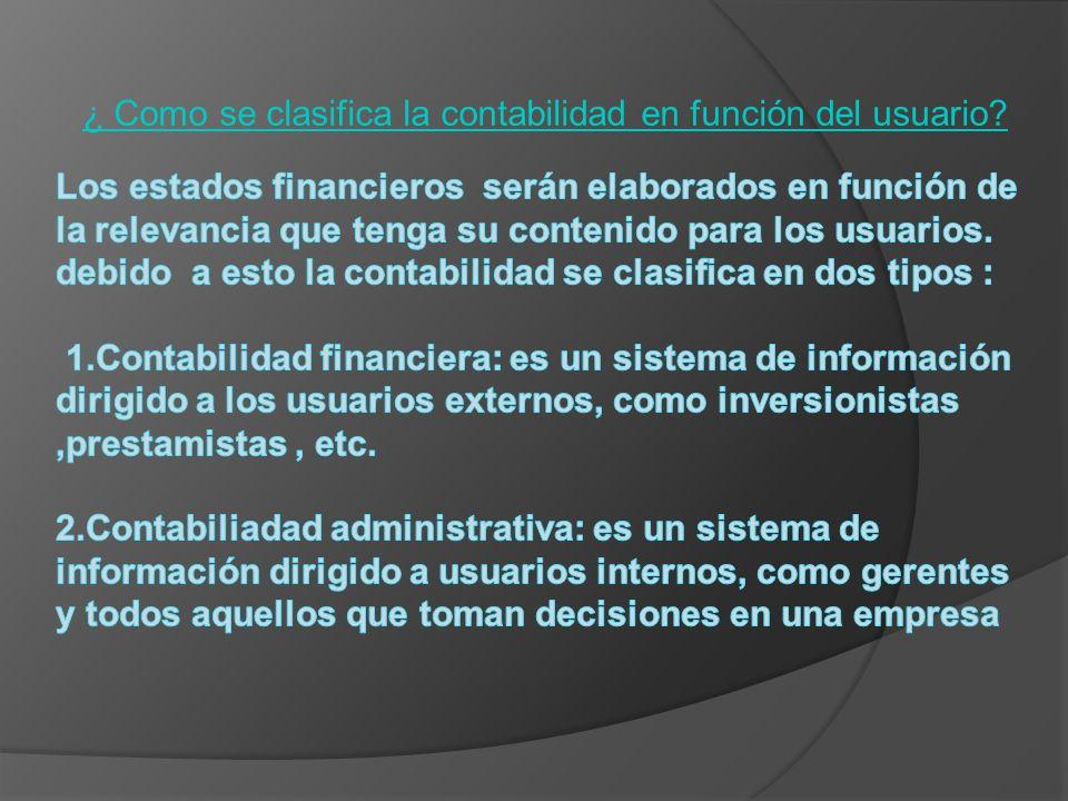 ¿ Como se clasifica la contabilidad en función del usuario