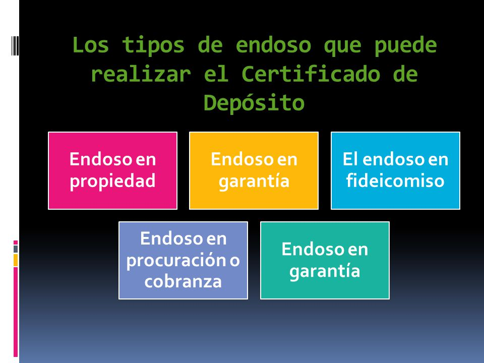 Los tipos de endoso que puede realizar el Certificado de Depósito