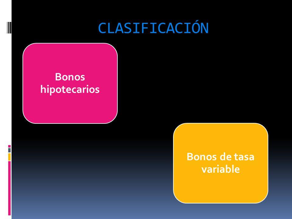 CLASIFICACIÓN Bonos hipotecarios Bonos de tasa variable