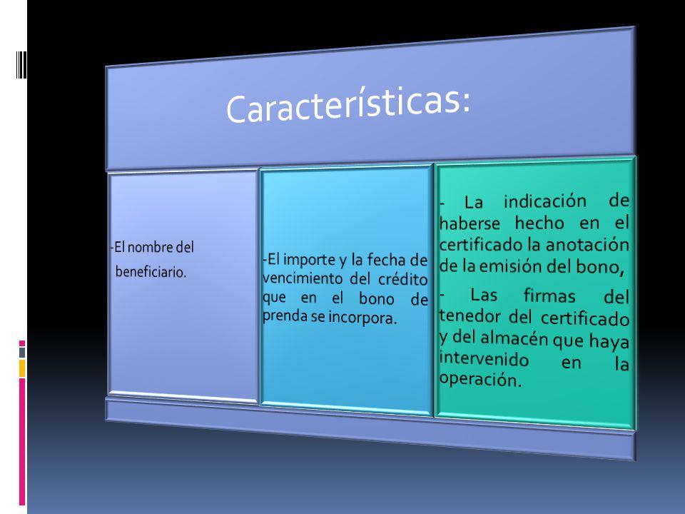 Características: -El nombre del. beneficiario. -El importe y la fecha de vencimiento del crédito que en el bono de prenda se incorpora.