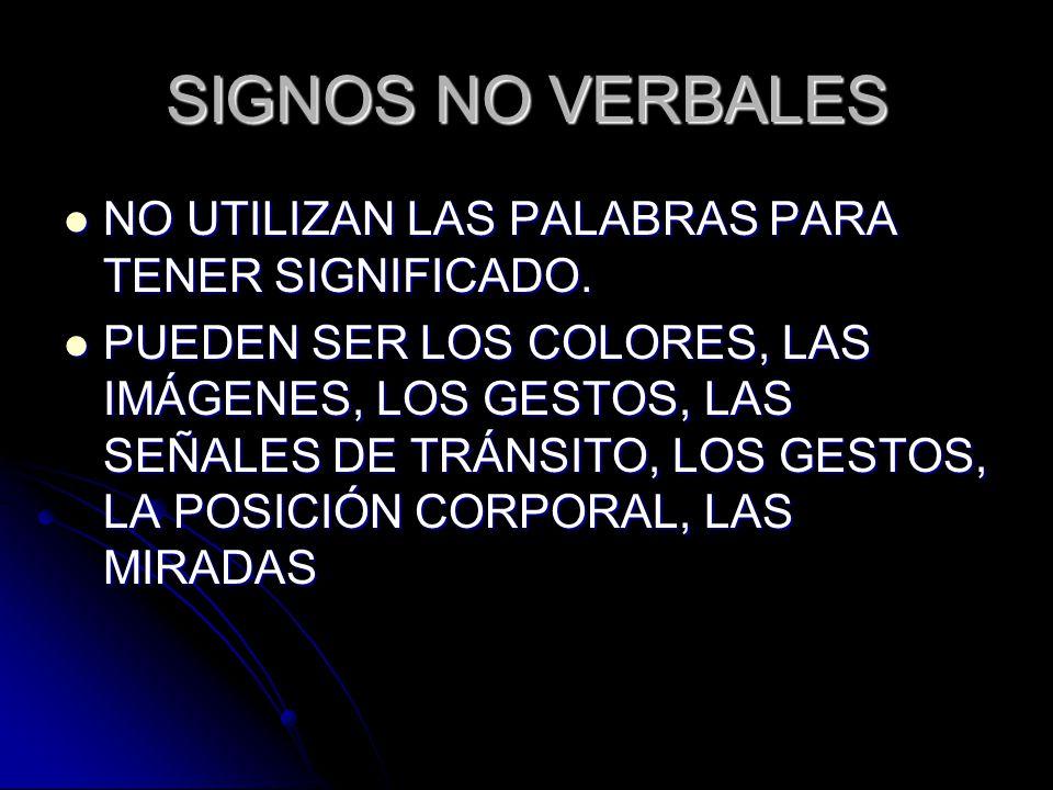 SIGNOS NO VERBALES NO UTILIZAN LAS PALABRAS PARA TENER SIGNIFICADO.