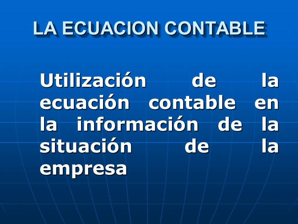 LA ECUACION CONTABLE Utilización de la ecuación contable en la información de la situación de la empresa.