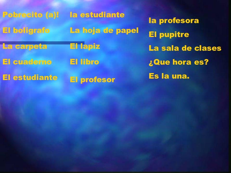 Pobrecito (a)! El boligrafo. La carpeta. El cuaderno. El estudiante. la estudiante. La hoja de papel.