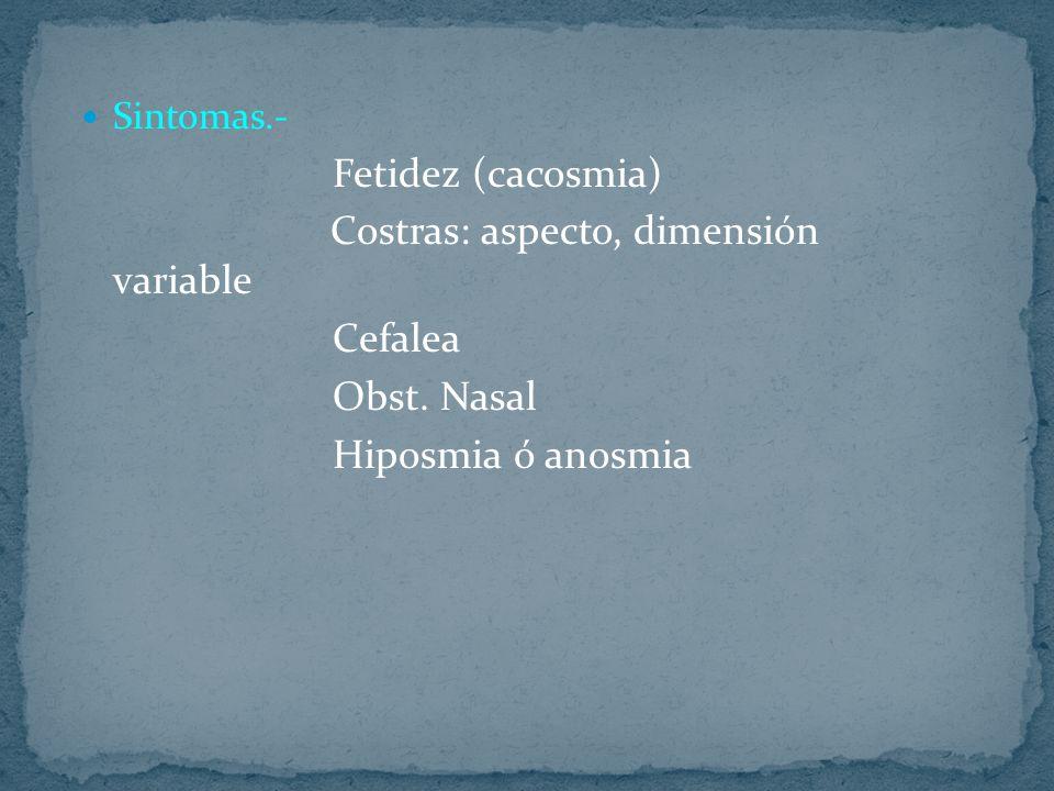 Fetidez (cacosmia) Cefalea Obst. Nasal Hiposmia ó anosmia Sintomas.-