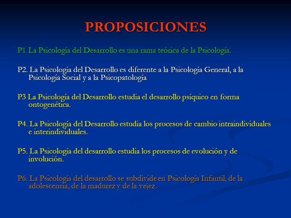 PROPOSICIONES P1. La Psicología del Desarrollo es una rama teórica de la Psicología.