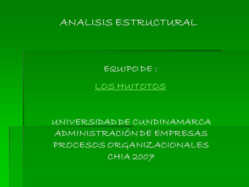 ANALISIS ESTRUCTURAL EQUIPO DE : LOS HUITOTOS