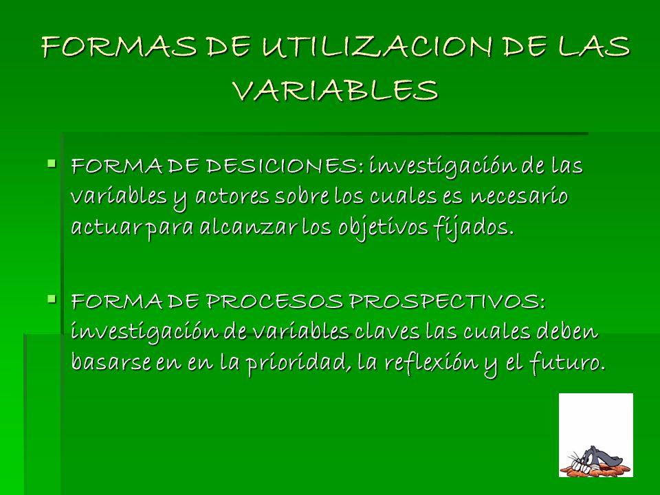 FORMAS DE UTILIZACION DE LAS VARIABLES