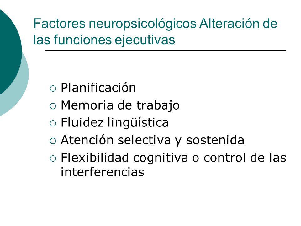 Factores neuropsicológicos Alteración de las funciones ejecutivas