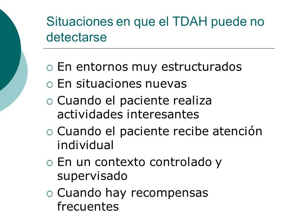 Situaciones en que el TDAH puede no detectarse