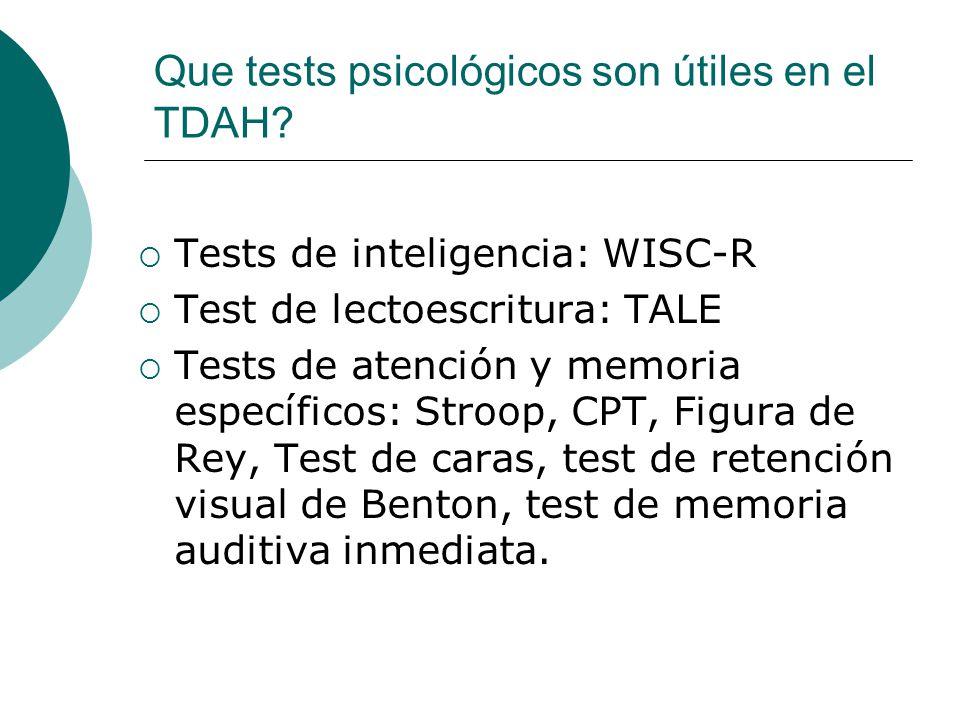 Que tests psicológicos son útiles en el TDAH