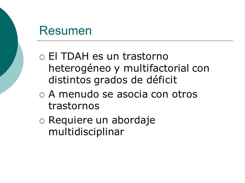 Resumen El TDAH es un trastorno heterogéneo y multifactorial con distintos grados de déficit. A menudo se asocia con otros trastornos.