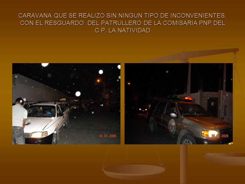 CARAVANA QUE SE REALIZO SIN NINGUN TIPO DE INCONVENIENTES, CON EL RESGUARDO DEL PATRULLERO DE LA COMISARIA PNP DEL C.P.