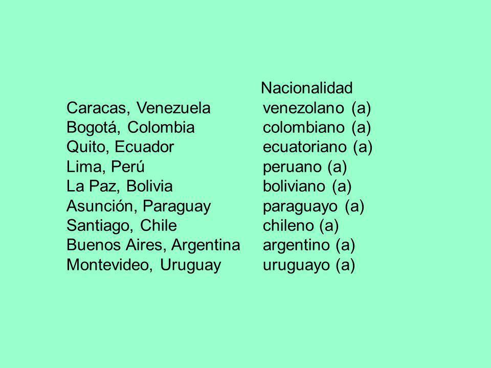 Caracas, Venezuela venezolano (a) Bogotá, Colombia colombiano (a)