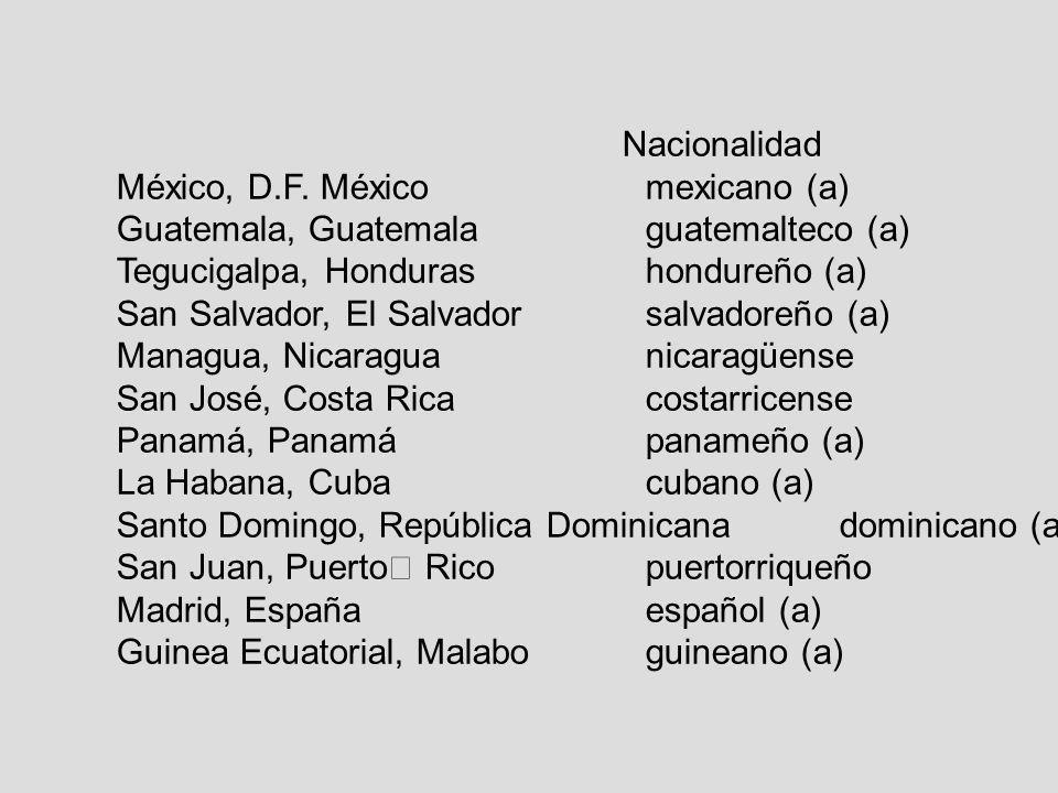 Nacionalidad México, D.F. México mexicano (a) Guatemala, Guatemala guatemalteco (a) Tegucigalpa, Honduras hondureño (a)